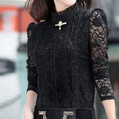 Misswell - Long-Sleeve Lace Frilled Top