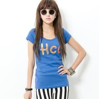 CUTIE FASHION - Short-Sleeve Sequined Lettering T-Shirt