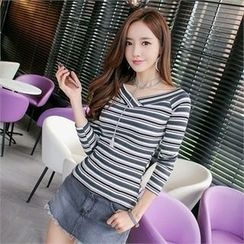 Babi n Pumkin - V-Neck Striped Rib-Knit Top