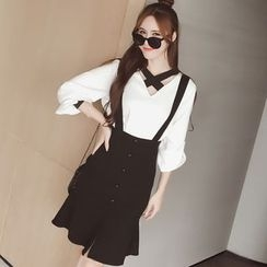 Fifth Season - Button Down Ruffle Hem Suspender Skirt