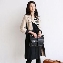 SARAH - Color-Block Trench Coat