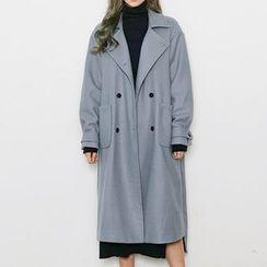 chuu - Notched-Lapel Wool Blend Coat with Sash