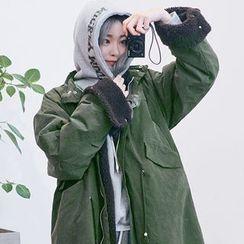 chuu - Stand-Collar Fleece-Lined Cotton Parka