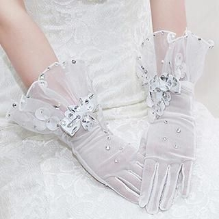 QS Bride - Rosette Rhinestone Bridal Gloves