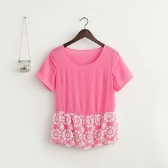 11.STREET - Embroidered Lace Short-Sleeve Top