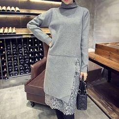 Fashion Street - Lace Panel High Neck Long Sleeve Knit Tunic