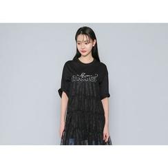 Envy Look - Spaghetti-Strap Lace-Sheer Long Dress