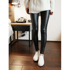 hellopeco - Faux-Leather Brushed Fleece Leggings Pants