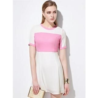Moonbasa - Color-Block A-Line Dress