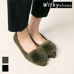 Wifky - Faux-Fur Patch Faux-Suede Flats