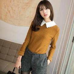 OrangeBear - Long-Sleeve Lace-Collar Top