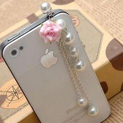 Paparazzi - 仿珍珠花形手机塞子
