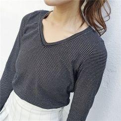 bombee - Striped Long Sleeve V-Neck T-Shirt