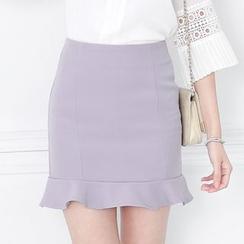 東京著衣 - 荷葉擺鉛筆短裙