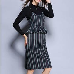 Rosesong - 套裝: 長袖針織上衣 + 條紋荷葉腰連衣裙