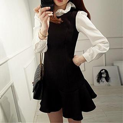 Dowisi - Set: Long-Sleeve Ruffled Blouse + Sleeveless Drop-Waist Dress