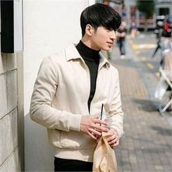 STYLEMAN - Faux-Suede Zip-Up Jacket