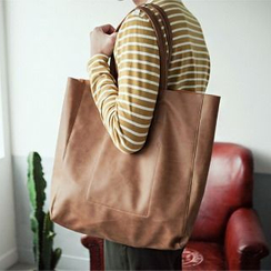 Asphalt - Faux-Leather Shopper Bag
