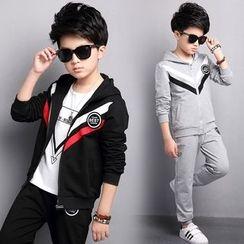 Pegasus - 童裝套裝: 山形紋連帽夾克 + 運動褲