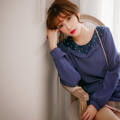 Tokyo Fashion - Embellished lace Collared Top