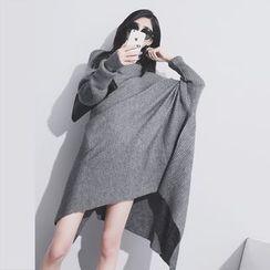 Sonne - High-Neck Asymmetric Knit Dress