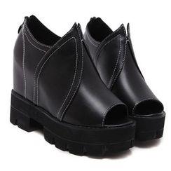 Anran - Peep Toe Platform Hidden Wedge Sandals