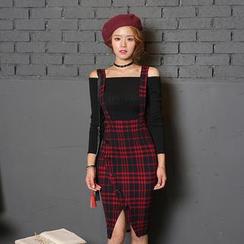 DABAGIRL - Button-Front Plaid Suspender Skirt