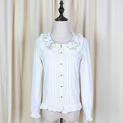 GOGO Girl - Embroidered Collar Pleated Shirt