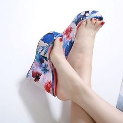 Anran - Floral Print Platform Wedge Slide Sandals
