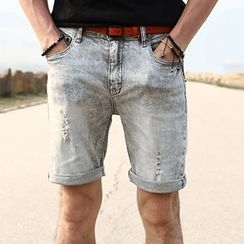 Mannmix - Distressed Denim Shorts
