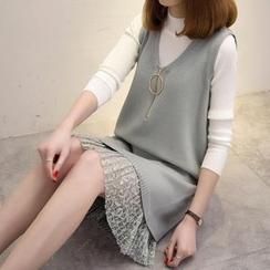 Ageha - 套裝: 純色小高領毛衣 + 拉鍊裝飾針織背心裙