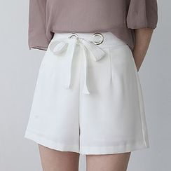 ELLY - 高腰宽腿短裤