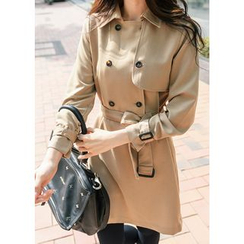 J-ANN - Double-Breasted Coat Dress with Sash