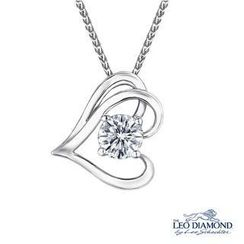 Leo Diamond - Blooming Heart Collection - 18K White Gold Romantic Diamond Solitaire Sideway Heart-Shaped Pendant Necklace (16')