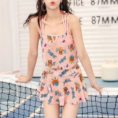 Roseate - Set : Print Bikini + Frilled Cover-up Top + Skirt