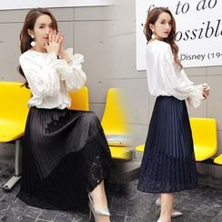 Romantica - Set: Lace-Panel Blouse + Pleated Skirt