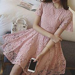 Glen Glam - Short-Sleeve Lace Dress