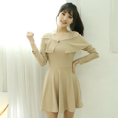 Dodostyle - Off-Shoulder A-Line Dress