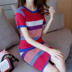 Bubbleknot - Stripe Colour Block Short-Sleeve Knit Dress