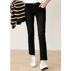 J-ANN - Fray-Hem Straight-Cut Jeans