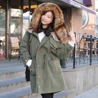 penny penNY - Faux Fur-Trim Hooded Drawstring-Waist Parka