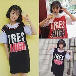 Melon Juice - 印字假兩件短袖T恤