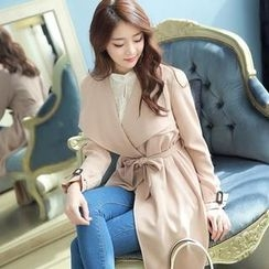 Styleonme - Wide Collar Trench Coat