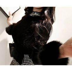 Marlangrouge - Embellished-Neck Knit Top