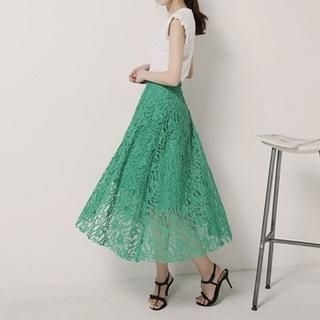 SARAH - Band-Waist Lace A-Line Long Skirt