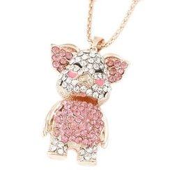 Bling Thing - Rhinestone Pig Pendant Necklace