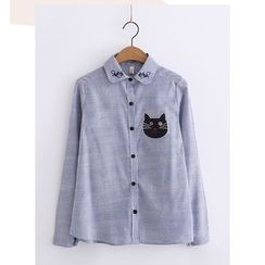 PANDAGO - Cat Striped Shirt