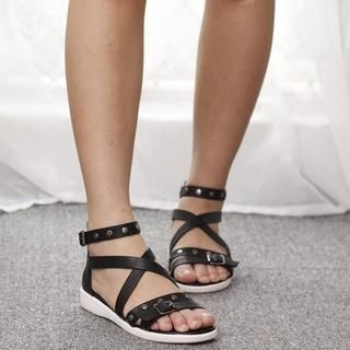 Lane172 - Studded Cross-Strap Sandals