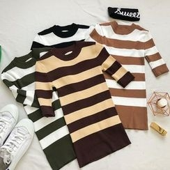 Honey House - Striped Elbow Sleeve Knit T-Shirt
