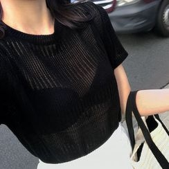UPTOWNHOLIC - Round-Neck Open-Knit Top